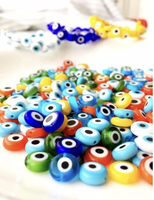 coloured evil eye beads